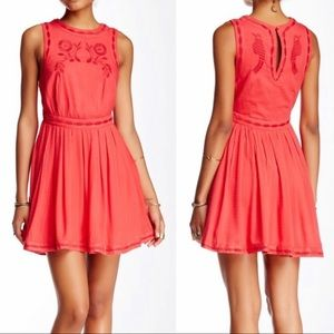 Free People NWT Coral Embroidered Dress